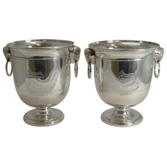 Fine Pair of English Sheffield Plate Wine / Champagne Coolers / Ice Buckets