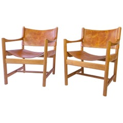 Pair of Cognac Leather and Oak Armchairs, Adrian & Ditte Heath for FDB, Denmark