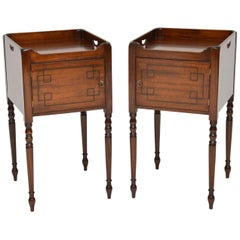 Pair of Antique Inlaid Mahogany Bedside Cabinets