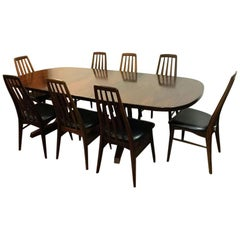 """Danish Rosewood Dining Table Set Including 8 """"Eva"""" Chairs by Niels Koefoed"""