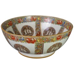 Rare and Important English Transfer Printed Punch Bowl