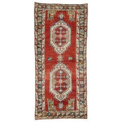 Vintage Turkish Oushak Gallery Rug with Jacobean Style, Wide Hallway Runner