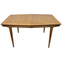 Mid-Century Modern Danish Walnut Sculpted Edge Dining Table with 1 Leaf
