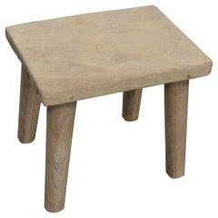 Andrianna Shamaris Reclaimed Bleached Teak Wood Stool or Side Table