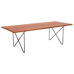 1950s Coffee Table in Wrought Iron and Teak Attributed to Ernesto Hauner, Brazil