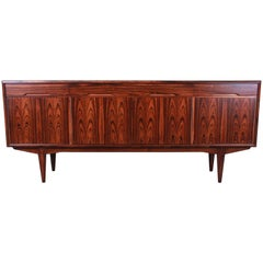 Danish Modern Rosewood Sideboard Credenza, Newly Refinished