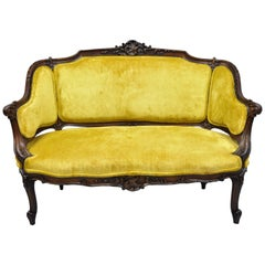 Antique French Louis XV Style Finely Carved Mahogany Settee Loveseat
