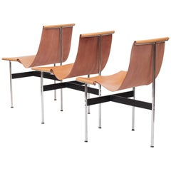 Laverne International T Chairs in Natural Cognac Leather by Ross Littel