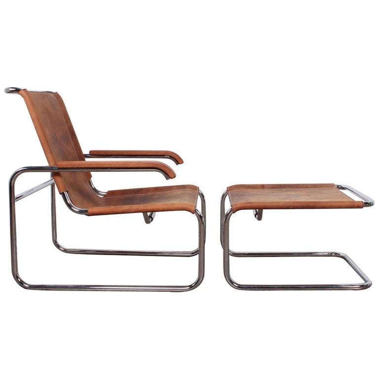 Marcel Breuer S35 Lounge Chair and Ottoman For Sale