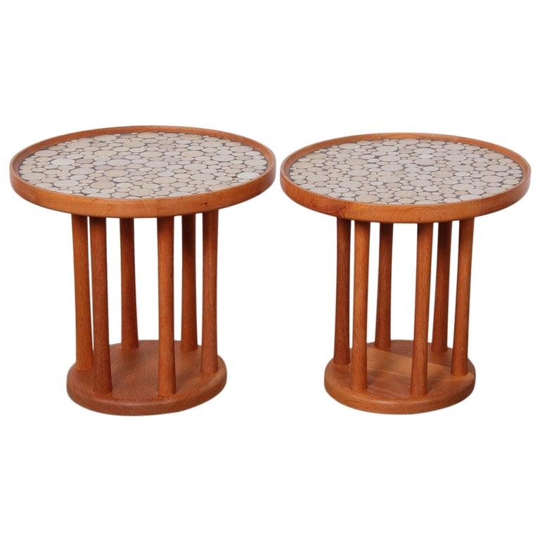 Pair of Tile Tables by Gordon Martz For Sale