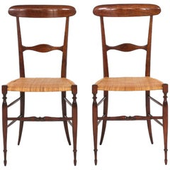 Pair of Midcentury Chairs by Colombo Sanguineti for Chiavari, 1950s