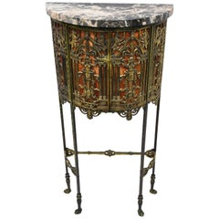 Figural Bronze and Iron Marble Telephone Stand Console Hall Table