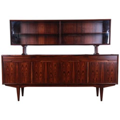 Danish Modern Rosewood Sideboard Credenza with Hutch-Top