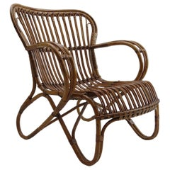 1920s Rattan and Steam Bent Chair