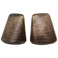 Ben Seibel Incised  Bronze Bookends