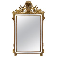Italian Gold Giltwood French Empire Style Mirror with Hot Air Balloon Crest
