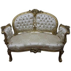 Handcrafted Solid Gilded Wood Baroque Sofa Louis XV Style