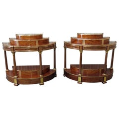 Pair of Russian Regency Style Demilune Consoles