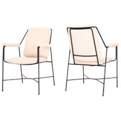 1960s Pair of Lounge Chairs in Wrought Iron and Tricot, Brazilian Modernism