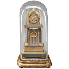 French Restauration Gilt and Silvered Bronze Neo-Gothic Cathedral Clock