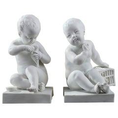 Bisque Figurines Child with Bird Cage and Girl with a Bird after Pigalle