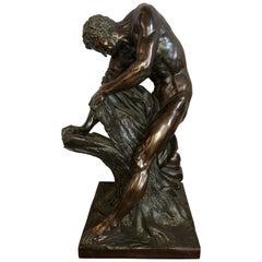 After Edme Dumont 19th Cent Large Bronze Depicting Male Figure of Milo De Croton