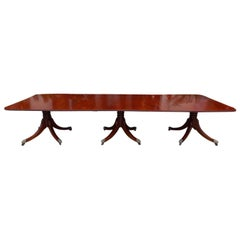 English Regency Honduras Mahogany Triple Pedestal Dining Room Table, Circa 1810