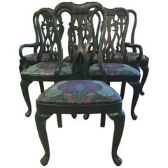 Set of 6 Sophisticated Laquered and Upholstered Dining Chairs