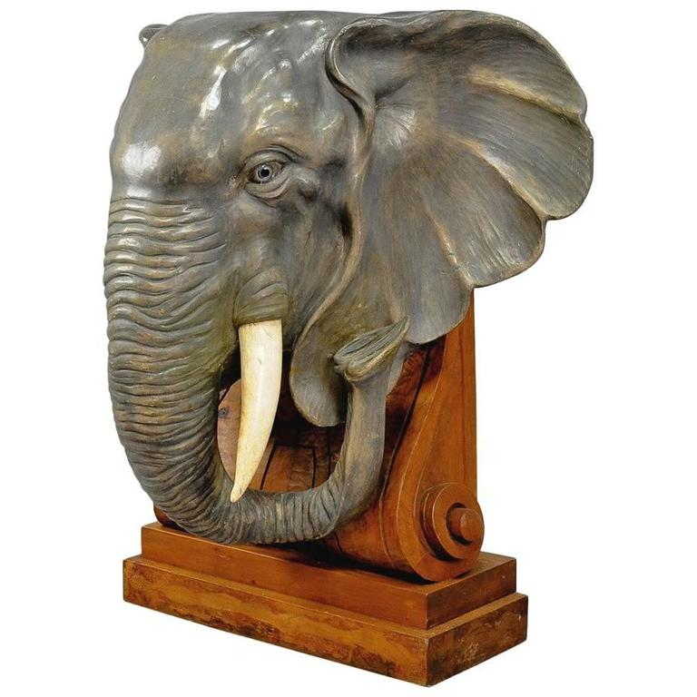 Elaborate Carved Elephant Head Statue Circa 1910 At 1stdibs