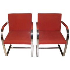 Pair of Knoll Mies van der Rohe Brno Chairs Flat Bar Dated 1980