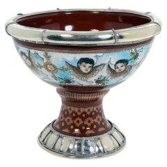 Ceramic and White Metal 'alpaca' Cherubs Bowl Centrepiece