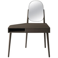 Grace Desk or Vanity by Carlo Colombo in Stained Ash with Drawer in Glass or Ash