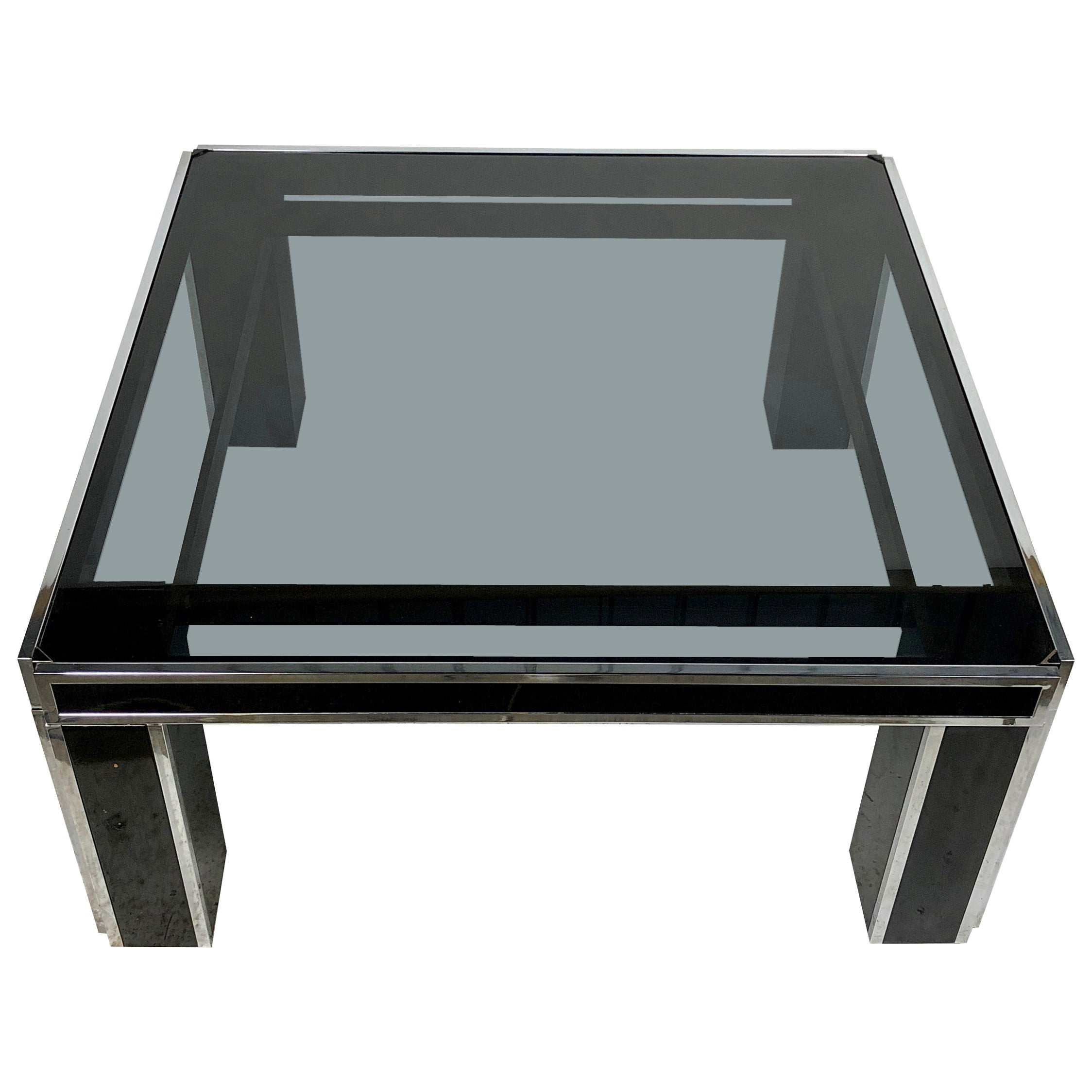 Black Coffee Table in Chrome and Smoked Glass Romeo Rega Style Italy, 1970s