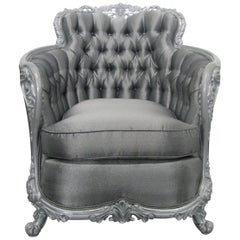Carved Rococo Style Silver Tufted Chair
