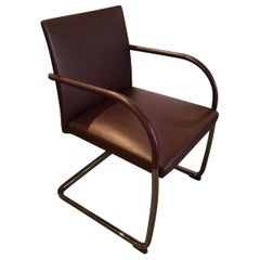 Set of Two Cantilever Chrome Frame Brown Leather Armchairs