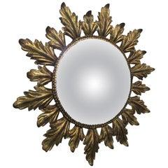 Vintage Gold Gilt Metal Sunburst Mirror