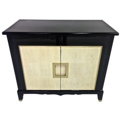 Art Deco Black Lacquer and Shagreen Cabinet, in Stock