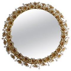 Palwa Backlit Mirror with Crystal Flowers 1960s Germany