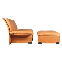 Albatros Leather Armchair & Ottoman by Ammannati & Vitelli for Brunati, 1970s