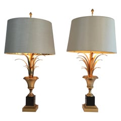 In the Style of Maison Charles, Pair of Black and Gold Palm Tree Table Lamps