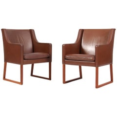 Børge Mogensen Lounge Chairs, Model 3246, Original Brown Leather, Mahogany Legs