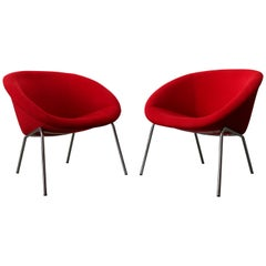 Pair of Walter Knoll Lounge Chairs Model 369 Vintage Design Red Chrome Silver