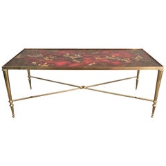 Attributed to Maison Jansen, Unique Neoclassical Coffee Table with Lacquered Top