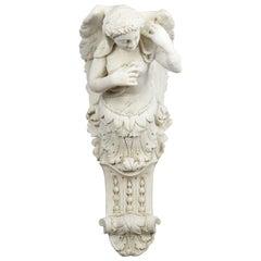 Large Antique Plaster Wall Bracket, Architectural, Figural, Angel, Corbel