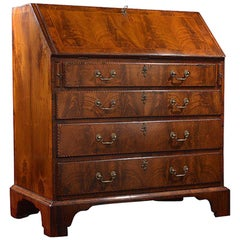 George III Walnut and Feather Banded Bureau