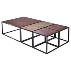 Modular Brass, Bronze and Wood Low Table