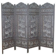 Vintage 1940s Folding Screen, 4-Panel, Teak, Pierced Fretwork Room Divider, Prop
