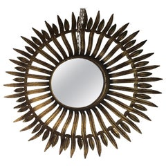 Gold Metal Sunburst Mirror, 1970s