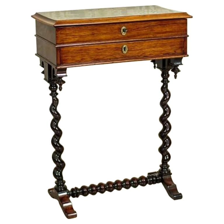 Renovated Eclectic Mahogany Sewing Table, circa 1880-1890 For Sale
