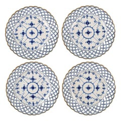 Set of 4 Antique Royal Copenhagen Blue Fluted Full Lace Plates with Gold Rim